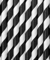 Gestreepte rietjes van papier zwart wit 20 stuks trend