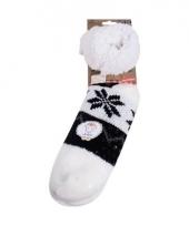 Gevoerde noorse huissokken wit zwart trend