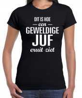 Geweldige juf cadeau t-shirt zwart voor dames trend
