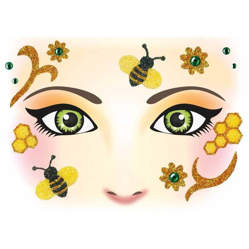 Gezicht stickers bijen 1 vel trend