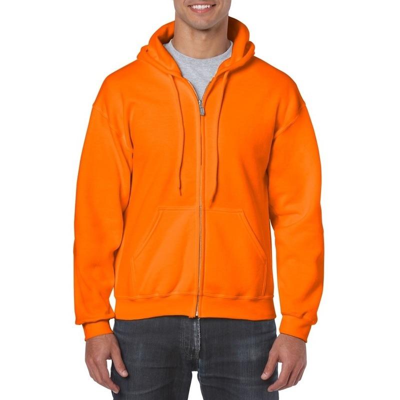 Gildan vest met capuchon oranje trend