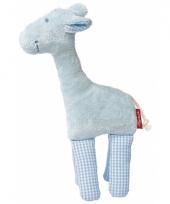 Giraffe blauw knuffel kraamcadeau 19 cm trend