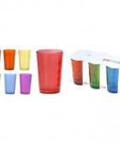 Glazen set gekleurd rond 6 stuks trend