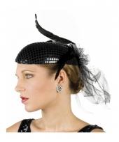 Glimmende zwart hoedje met veren trend