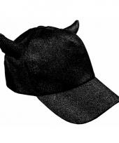 Glitter cap met hoorntjes zwart trend