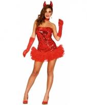 Glitter duivel jurkje rood dames trend