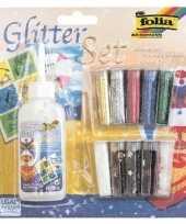 Glitter en confetti set met lijm 11 delig trend