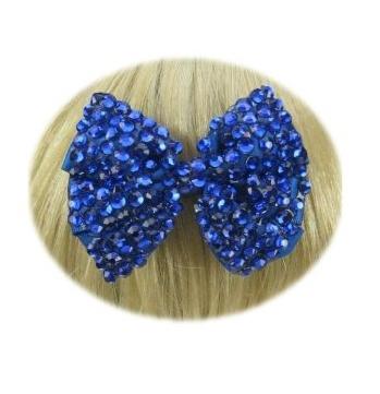 Glitter strik haarklem blauw trend