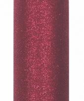 Glitter tule stof donker rood 15 cm breed trend