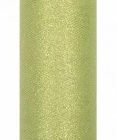 Glitter tule stof licht groen 15 cm breed trend