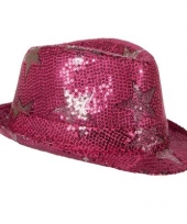Glitterhoedje roze met sterren trend