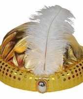 Goud arabisch sultan hoedje met diamant en veer trend
