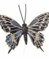Goud blauwe vlinder kerstversiering steker decoratie 6 cm trend