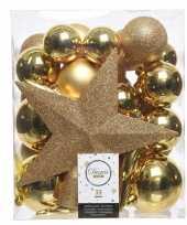 Goud kerstballen pakket met piek 33 stuks 33 stuks trend