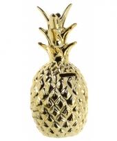 Gouden ananas spaarpot 15 cm trend