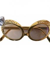 Gouden feest bril met nep diamant trend