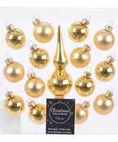 Gouden glazen kerstballen en piek voor mini kerstboom trend