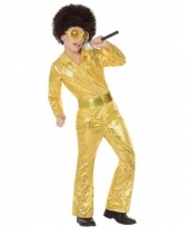 Gouden glitter disco pak voor jongens trend