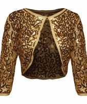 Gouden glitter pailletten disco bolero jasje dames trend