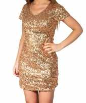 Gouden glitter pailletten disco jurkje dames trend