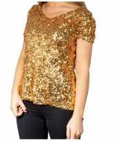 Gouden glitter pailletten disco shirt dames trend