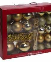 Gouden kerstversiering kerstballen set 48 delig kunststof trend