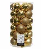 Gouden kerstversiering kerstballenset kunststof 6 cm 36 stuks trend