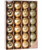 Gouden kerstversiering kerstballenset kunststof 6 cm trend