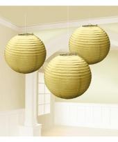 Gouden lampionnen drie stuks 24 cm trend
