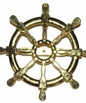 Gouden matroos zeeman verkleed broche scheepsroer 7 cm trend