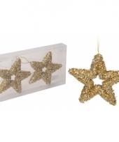 Gouden ster kerstboom hangers 13 cm trend