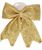 Gouden strik kerstboom piek pailletten 34 cm trend