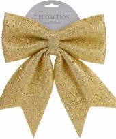 Gouden strik kerstboompiek met glitters 34 cm trend