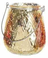 Gouden theelichthouder lantaarn 10 cm trend