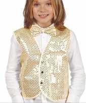 Gouden verkleed gilet met pailletten voor kinderen trend