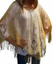Gouden visnet poncho omslagdoek stola dames trend