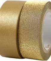 Goudkleurig glitter tape 2 rollen trend
