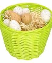 Green easter basket with plastic quail eggs 14cm trend