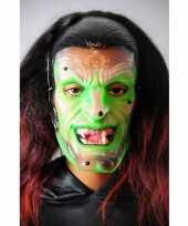 Griezelig groene heksen masker trend