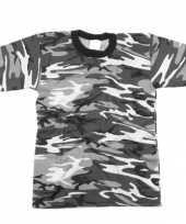 Grijs camouflage t-shirt korte mouw trend