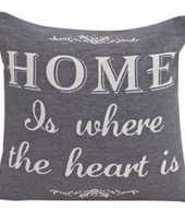 Grijs kussentje home is where the heart is 45cm trend