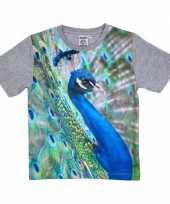 Grijs t-shirt met pauw voor kinderen trend