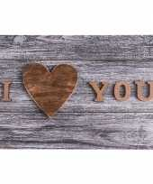 Grijze placemat i love you 44 cm trend