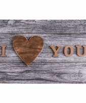 Grijze placemat i love you 44 cm trend