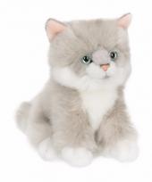 Grijze witte ragdoll kitten poezen knuffel 15 cm trend