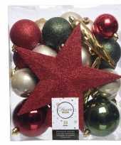 Groen goud rood kerstballen pakket met piek 33 stuks trend