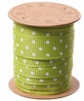 Groen lint met witte stippen 3 meter trend