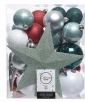Groen zilver wit kerstballen pakket met piek 33 stuks trend