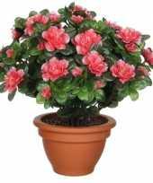 Groene azalea kunstplant perzikkleurig bloemen 35 cm in pot trend