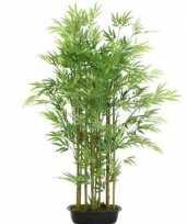 Groene bamboe kunstplant 125 cm in zwarte plastic pot trend
